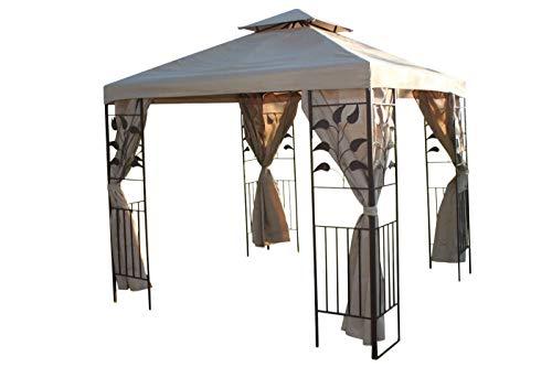 Garden Market Place Gartenpavillon mit Blatt-Design, 2,5 m, quadratisch, beige Abdeckung und 4 Polyester-Vorhänge mit starkem Stahlrahmen, 250 X 250 X 260 cm