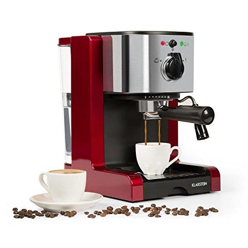 Klarstein Passionata Rossa 15 - Espressomaschine, Espresso-Automat, Kaffee-Maschine, 1470 Watt, 1,25 Liter, automatischer Druckablass, inkl. Milchschaum Düse für Zubereitung von Cappuccino, rot