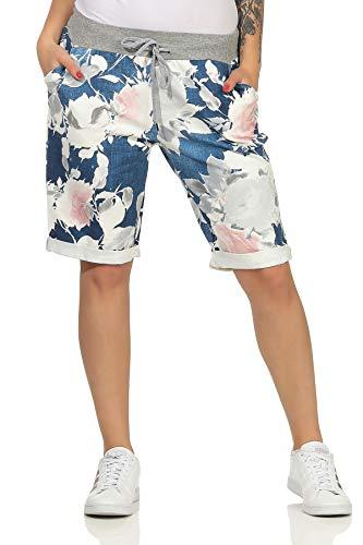 CLEOSTYLE Kurze Damen Bermuda, leichte luftige Hose für den Sommer, kurzer Jogger für Freizeit und Strand 9 (Dunkelblau/Blume 2)