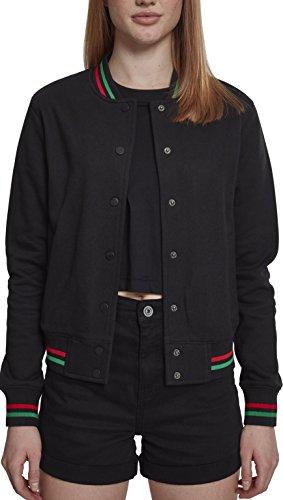 Urban Classics Damen 3-Tone College Sweatjacke, Black/Green/fire red, S