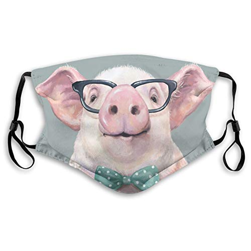 LAIPUTER Funny Pink Cool Pig With Glasses Fashion Face Mask With Filter Pocket Washable Face Bandanas Dust-Proof Balaclava Reusable Fabric Mask For Men Women