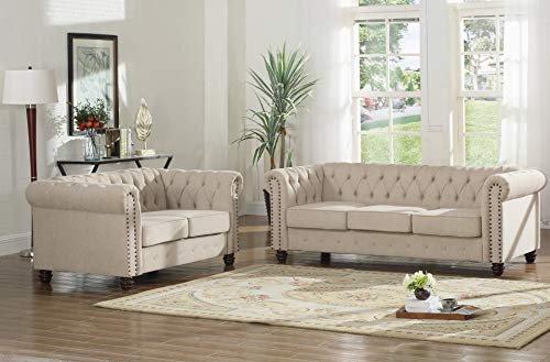 Reaowazo Venice 2 Piece Upholstered Sofa Set, Beige