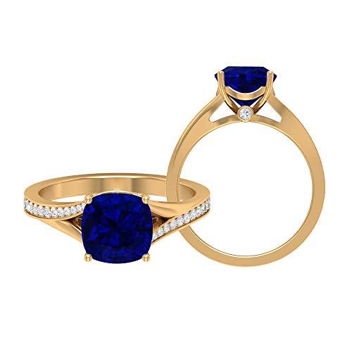 Anillo solitario de corte cojín, anillo de promesa, piedra preciosa de 2,25 quilates, moissanite D-VSSI 8 mm creado en laboratorio zafiro azul, anillo de boda catedral, 10K Oro amarillo, Size:EU 50