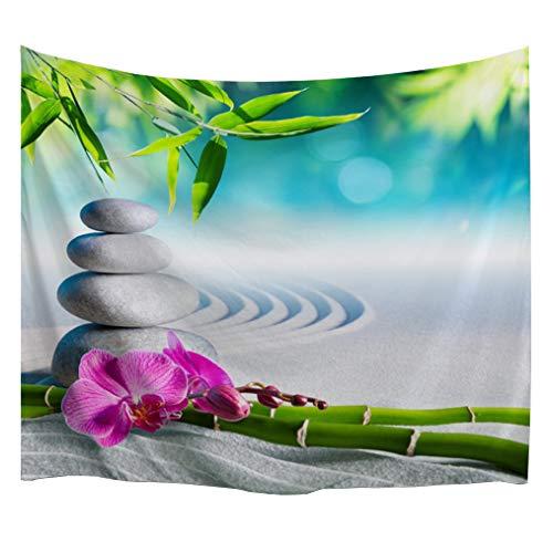 izielad Jardín Zen Tapicería Flor Rosa SPA Piedras y árbol de Bambú en el Agua Terapia de relajación Paz Pared Colgante para el Dormitorio Sala de Estar Dormitorio 229x153cm 90'x60'