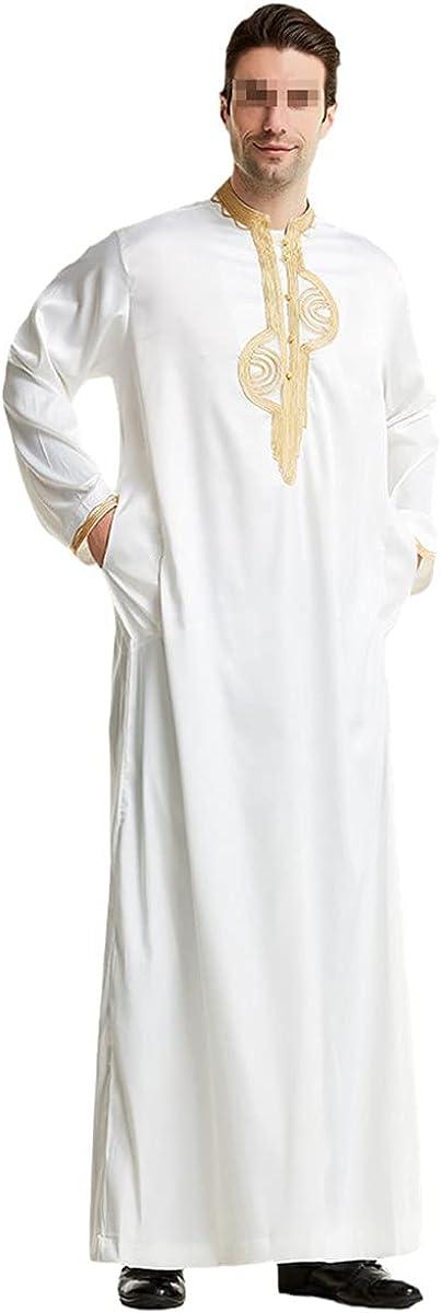 KEHAIOO Men Muslim Jubba Thobe Islamic Stand Collar Kimono Long Robe Saudi Abaya Caftan Dubai Arab Kaftan
