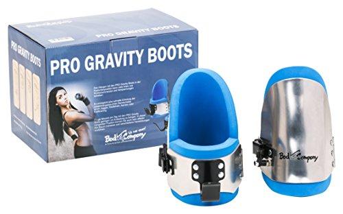 Bad Company Gravity Boots I Hanging-Boots mit Sicherheitsverschluss, Anschlagsstift und Einer Übungsanleitung für das Schwerkraft-Training in Blau/Metallic-Silber