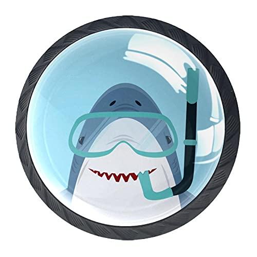 4 pomos redondos para cajón de cristal de 30 mm, tiradores de tiburón con gafas de 1,37 x 2,8 cm