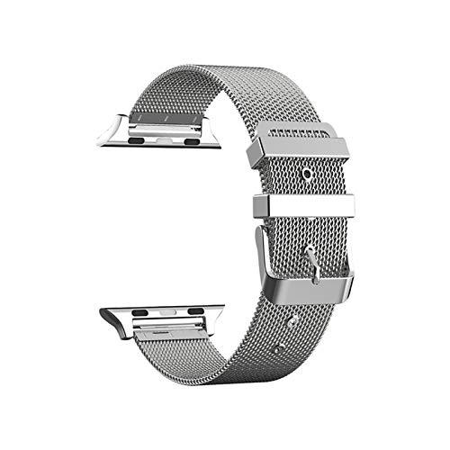 CGGA Correa de acero inoxidable para Apple Watch de 38 mm, 42 mm, para iWatch SE 6/5/4/3/2/1 de 40 mm, 44 mm, color de la correa: plata, ancho de la correa: para 38 mm y 40 mm.