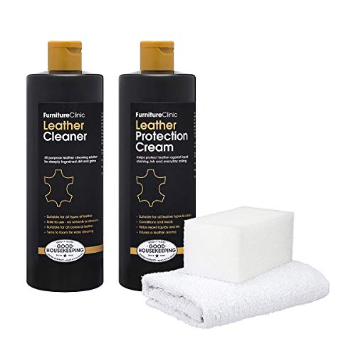 Furniture Clinic Large Leather Care Kit - Includes a 17oz Protection Cream & Conditioner, 17oz Leather Cleaner, Sponge & Cloth | Condition & Protect Leather Furniture, Chairs, Car Seats