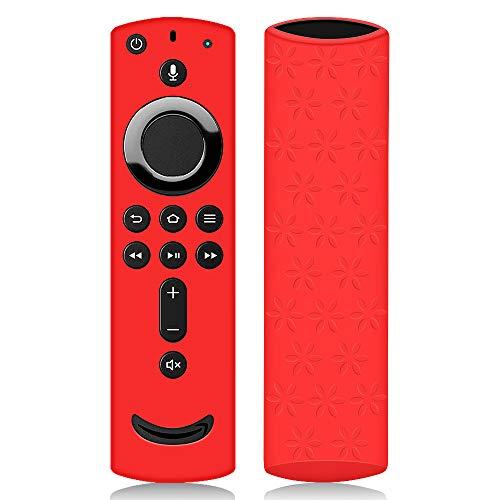 Hydream Schutzhülle für Fire TV Stick 4K / 4K Ultra HD Kompatibel mit Neuen Alexa-Sprachfernbedienung (2.Gen), Leichte rutschfeste Stoßfeste Silikon Fernbedienung Silikonhülle Cover Hülle (Rot)