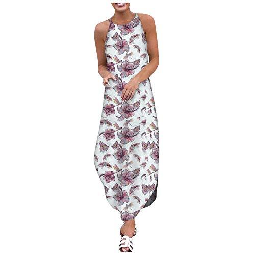 Ainiyo Leinen Maxikleider Damen Boho Kleider Freizeitkleider Strandkleider Shirtkleider Abendkleider Brautkleider Sommer O-Ausschnitt Blumen Baumwolle Leinen Ärmellose Plus Size Kleider