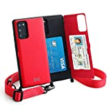 TORU CX Cross Compatible with Samsung Galaxy Note 20 5G Case - Protective Dual Layer Wallet with Hidden Card Holder + ID Card Slot Hard Cover, Crossbody Strap & Mirror - Red