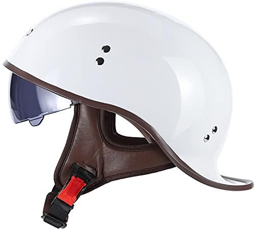 Cascos De Motocicleta para Hombres y Mujeres ECE Homologado Half-Helmet Cascos Abiertos de Moto Vintage Casco Moto Jet con Visera,para Motocicleta Scooter Bicicleta Medio Casco D, XL61-62