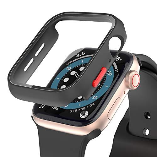 Funda Rigida con Pelicula Protector de Pantalla de Cristal Templado para Apple Watch 42mm Serie 3 Serie 2 Carcasa Protectora Vidrio iWatch (Negro con Boton Rojo)