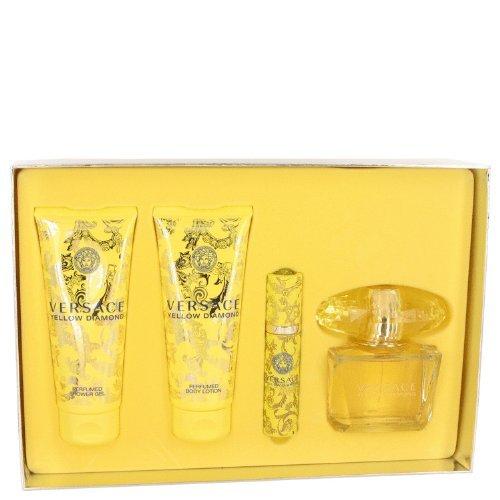 Versace Yellow Diamond by Versace - Gift Set -- 3 oz Eau De Toilette Spray   3.4 oz Body Lotion   3
