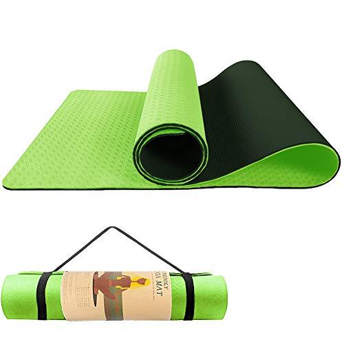 HDZIYU ヨガマット 滑り止め トレーニングマット 運動用マット ストレッチマット ホットヨガマット エクササイズマット ピラティスマット Yoga Mat 両面 ゴムバンド 2色のパッド ストラップ 軽量 TPEリング保護素材 厚み6mm (緑)