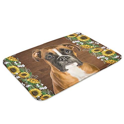 Huffle-Pickffle Felpudo BO-xer D-og antideslizante de goma – Práctica alfombra para la colada para el hogar, color blanco, 60 x 90 cm