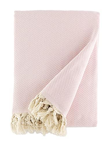 BOHORIA® Tagesdecke extra groß 170 x 230cm | 100% Baumwolle | Überwurf für Sofa, Sessel & Bett | Kuscheldecke Sofadecke Wolldecke (Cherry Blossom)