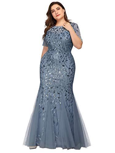 Alisapan Womens Sequin Mermaid Plus Size Formal Wedding Evening Dresses Dusty Blue US24