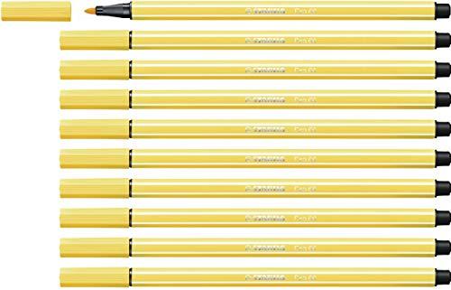 Pennarello Premium - STABILO Pen 68 - Confezione da 10 - Giallo