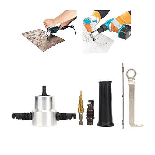 Metallblechschneider, 6PCS Doppelschneidkopf Air Metal Nibbler Sheet Nibbler Drill Attachment Kit, für Lochsägebohrwerkzeug