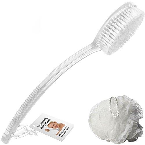 TopNotch Back Brush for Shower Bath, white long handle Brush plus Mesh Sponge