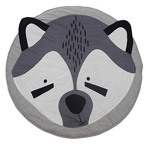 LMXWHN Mode 90 Cm Enfants Jeu De Jeu Tapis Rond Tapis Tapis Tapis Coton Kola Lapin Tapis De Sol pour Enfants Room Decor Nouveau-Né Cadeau De Bébé-Fox