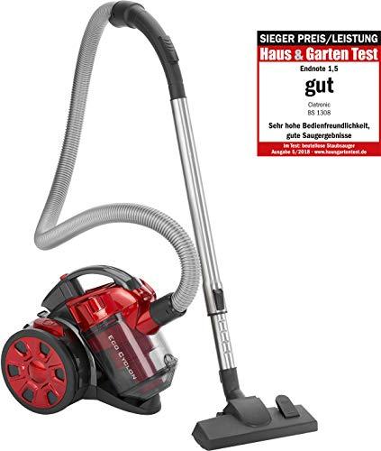 Clatronic BS 1308 Aspiradora ciclónica sin bolsa potente, filtro HEPA, tubo telescópico metal, cepillo mixto y rinconera,eficiencia energética A, 700 W, Aluminio, Rojo