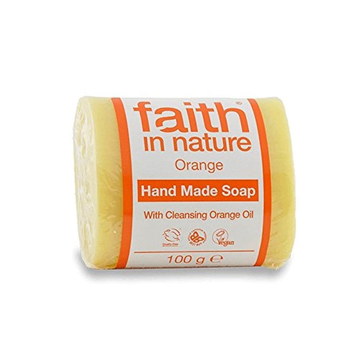 レキシコン彫刻フォアマン自然オレンジ色の石鹸100グラムの信仰 - Faith in Nature Orange Soap 100g (Faith in Nature) [並行輸入品]
