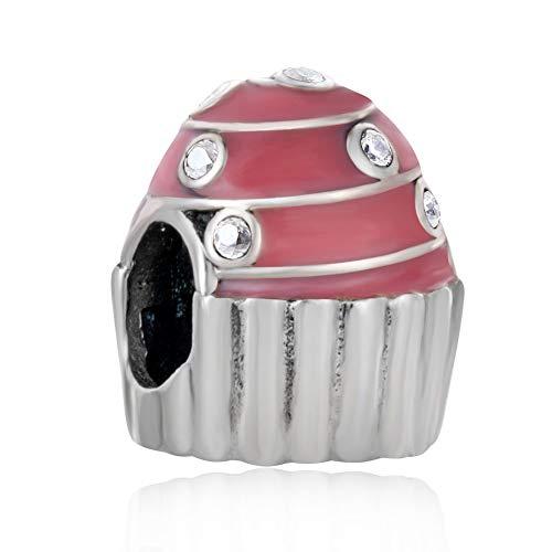 Ciondolo a forma di torta di buon compleanno con zirconia cubica S925 in argento Sterling con ciondolo a forma di cupcake rosa, regalo di compleanno