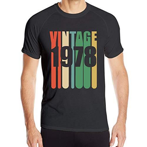 Camiseta de Manga Corta de Secado rápido atlético Vintage 1978 para Hombre,XL