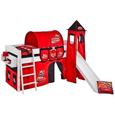 Lilokids Spielbett IDA 4105 Disney Cars-Teilbares Systemhochbett weiß-mit Turm, Rutsche und Vorhang Lit pour Enfant, Bois, 208 x 220 x 185 cm