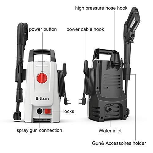 Rrtizan Powerful Pressure Washer, 110Bar Electric Jet Washer Portable Car Washer Machine with Adjustable Nozzle,for Cleaning Cars/Patios/Fences/Homes/Driveways/BBQ Deep