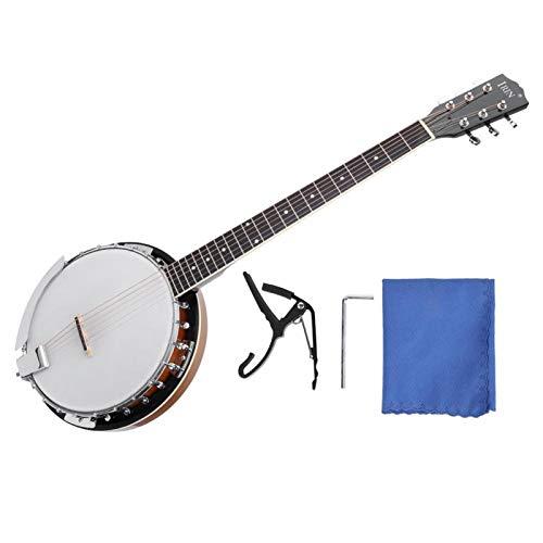 6 Saiten Banji Instrument Sapele PVC Oberflächen Banjo mit ätherischem Sound für Banjo Player Banjo Bolzen