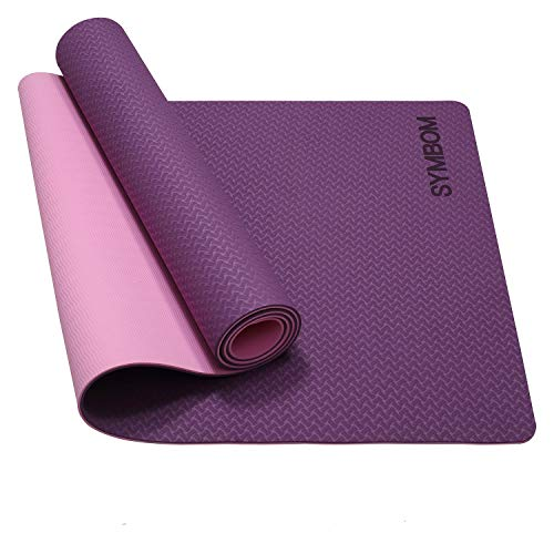 Tapis Yoga, Tapis Fitness TPE Matériaux Ultra Antidérapant et Durable, Non Toxique, Tapis de Sol pour Sport, Fitness 183x61x0.6 cm