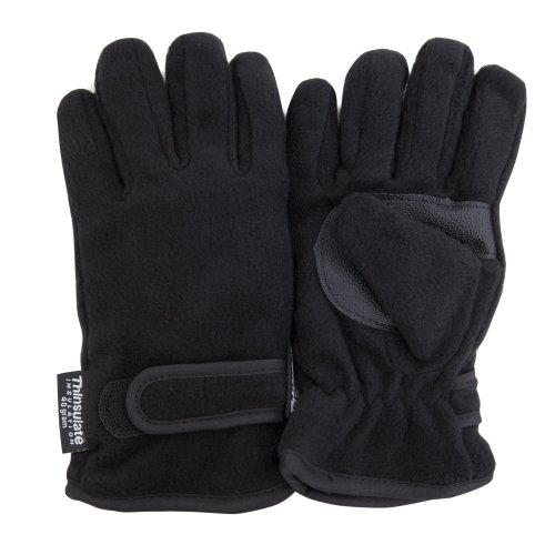 Floso 3M Thinsulate - Guantes de forro polar para niños (40 g) Negro 8-9 Años