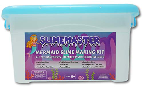 Mermaid Slime Making Supplies Kit for Girls (Make Your own Slime) Fishbowl, Jelly Cube, Foam, Fluffy Cloud, Scented, Glittery Slime Package, Includes Instruction Booklet, Ingredients, DIY for Kids