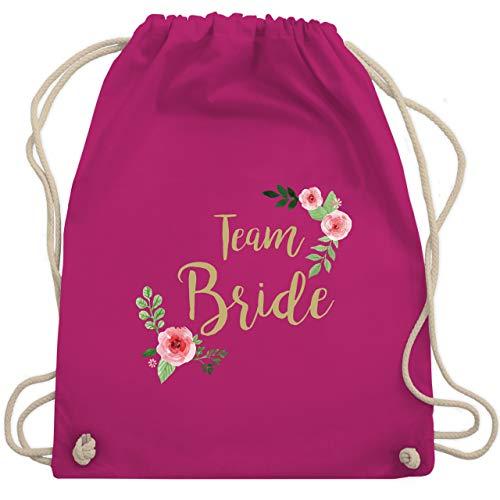 Shirtracer JGA Junggesellenabschied Frauen - Team Bride Blumen vintage - Unisize - Fuchsia - rucksack bride to be - WM110 - Turnbeutel und Stoffbeutel aus Baumwolle