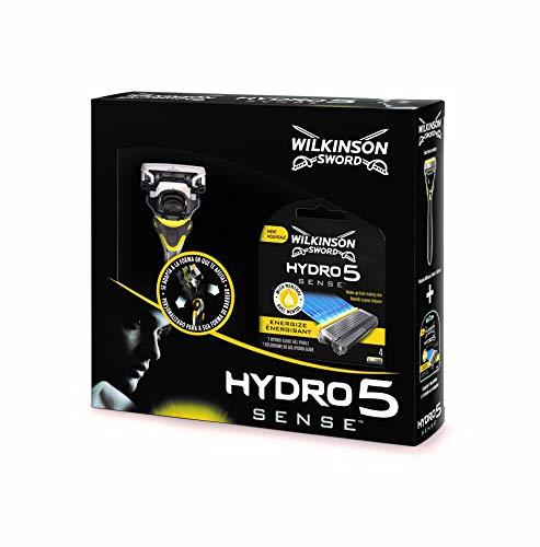 Wilkinson Sword Pack Hydro 5 Sense - Kit Con Máquina De Afeitar Recargable De 5 Hojas Con Gel Hidratante Para Hombre + 4 Cuchillas De Recambio, Afeitado Manual Masculino