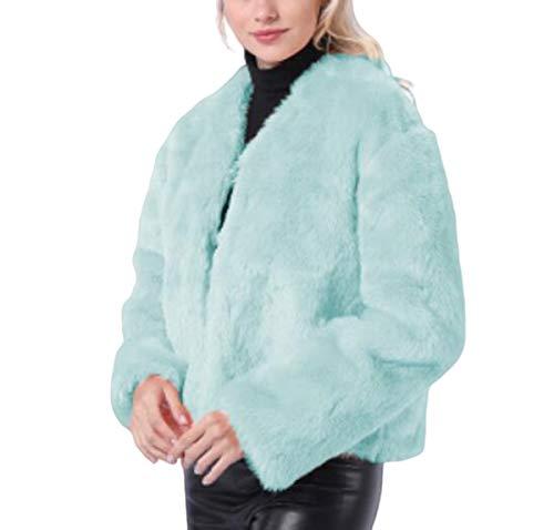 NANXCYR Dames Korte Warm Tops Bontjas Dames Overjas Winterjas Lange Mouw Faux Bont Bovenkleding Mode Bovenkleding Parka