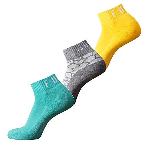 Fussvolk Quarter Socken 3 Paar Sportstrümpfe Ankle Socks 3er gelb-mint-grau, Size:35-38