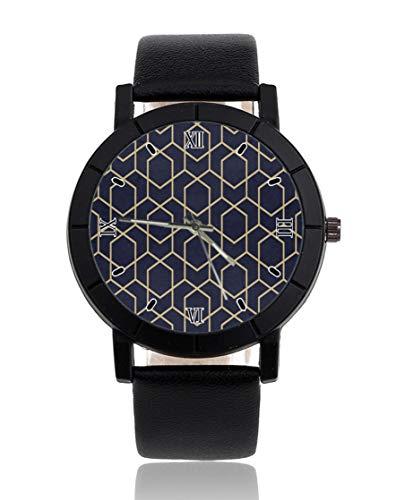 Geometría impresión personalizada reloj personalizado casual correa de cuero negro reloj de pulsera para hombres mujeres unisex relojes