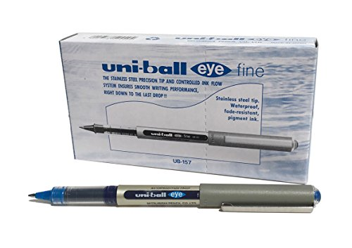 Uni-Ball UB-157 Eye - Penna a sfera a punta fine, confezione da 12, colore: blu