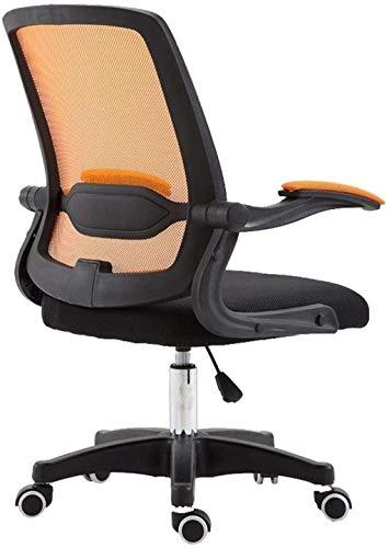 Silla ergonómica para computadora de oficina, silla de malla giratoria de respaldo alto, silla de escritorio acolchada con sillón plegable (color naranja)