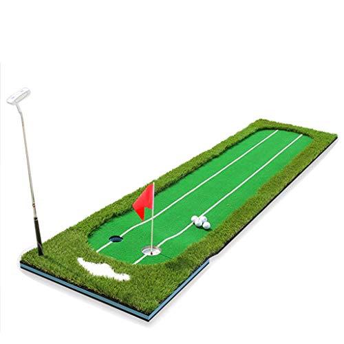 YANGSANJIN Professionele Dubbele Lijn Groene Trainer Indoor Golf Outdoor Sport Draagbare Putter Trainer Set Office Sportmat Kit Pad, voor binnen, Tuin