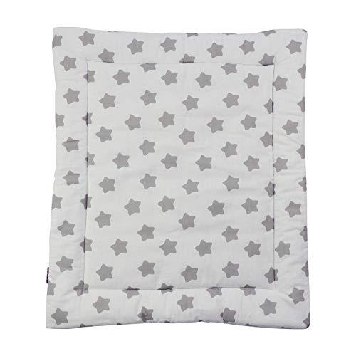 Puckdaddy Wickelauflage Freya - 65x75 cm, Wickelunterlage aus 100% Baumwolle mit Sterne und Pünktchen Muster in Weiß, weiche Wickeltischauflage für Wickelkommoden, waschmaschinengeeignet