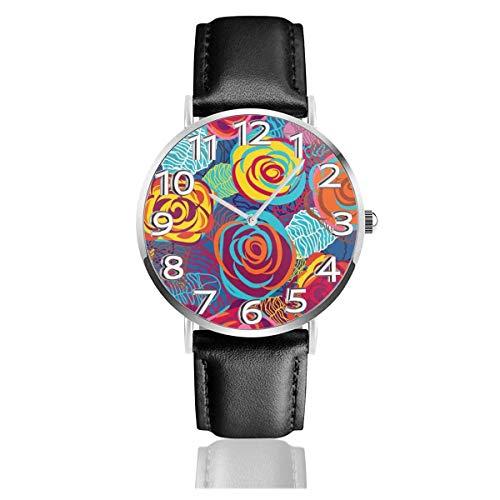 Reloj de Pulsera Rosas Brillantes Hojas Coloridas Correa de Cuero sintético Duradero Relojes de Negocios de Cuarzo Reloj de Pulsera Informal Unisex