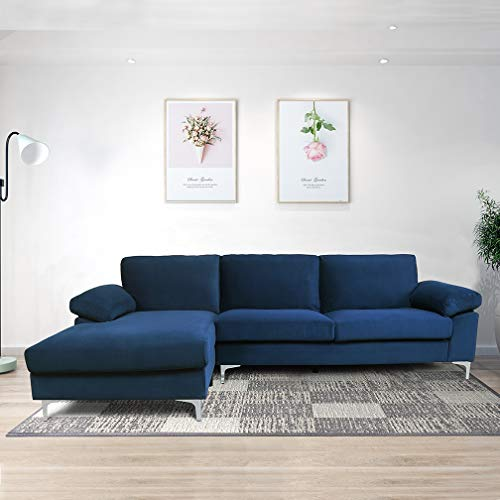 Sectional Couch for Living Room Sectional Sofa with Velvet Fabric and Hard Wood Frame L-Shape Sectional Sofa Couch Blue Sofa