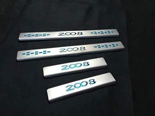 GWQNB 4 Piezas De Alféizares De Puerta De Coche para Peugeot 2008 2014 2015 2016, Accesorios De Moldura De Protección De Cubierta De Umbral De Pedal De Desgaste, Acero Inoxidable, Azul, Azul, Azu