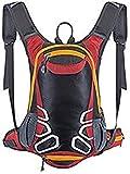Mochila de ciclismo con soporte para casco, mochila ligera de esquí de 15 l (pequeña, compacta, resistente al agua), para senderismo, camping, montañismo, esquí, rojo